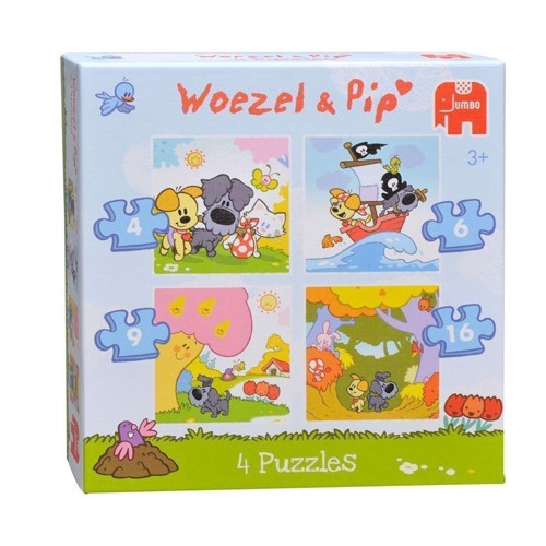 Image of Woezel &Pip puzzle, 4 in 1 (8710126184073)