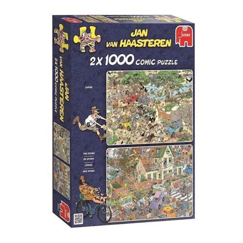 Image of Jan van Haasteren 2 i 1 puslespil med 1000 brikker, safari og orkan (8710126190012)