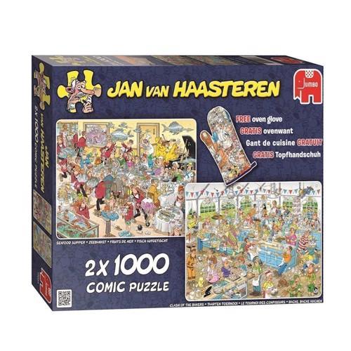 Image of Jan van Haasteren 2 puslespil med 1000 brikker, spis og bag (8710126190036)
