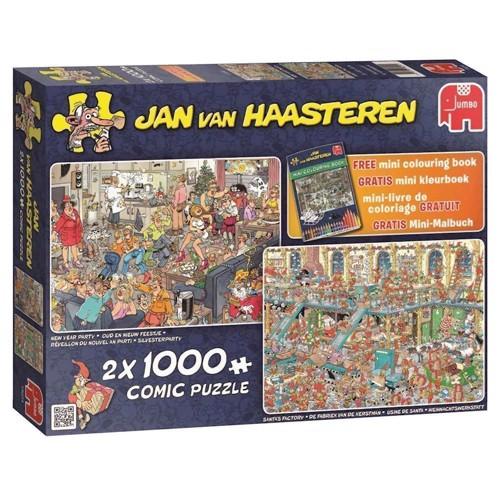 Image of Jan van Haasteren puslespil 2 i 1 med 1000 brikker, ferie dage (8710126190241)