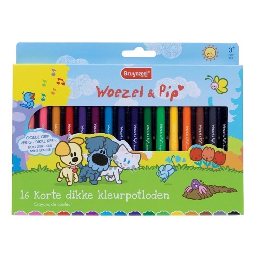 Image of Bruynzeel Woezel &Pip Short Fat Crayons, 16st. (8710141131229)