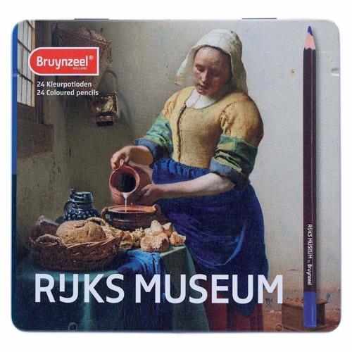 Image of Bruynzeel Metalæske med 24 forskellige farveblyanter (8710141131267)