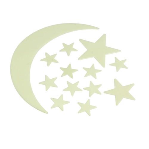 Image of   Selvlysende måne og stjerner