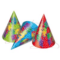 Happy Birthday hats, 6pcs.