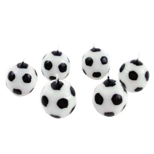 Image of Fødselsdagslys, fodbold, 6 stk