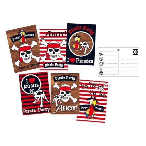 Image of   Pirate invitations, 6pcs.