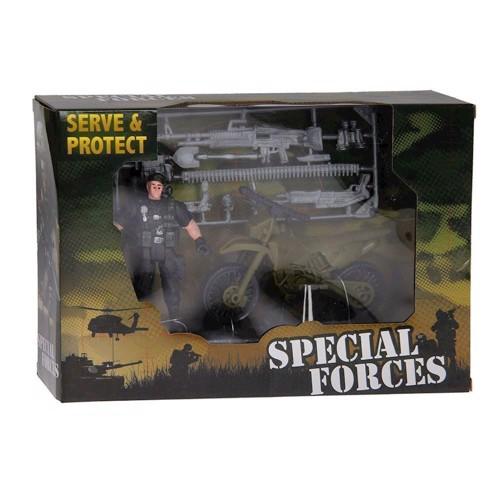 Image of Army Forces, sæt med, figur, motorcykel og våben (8711866260188)