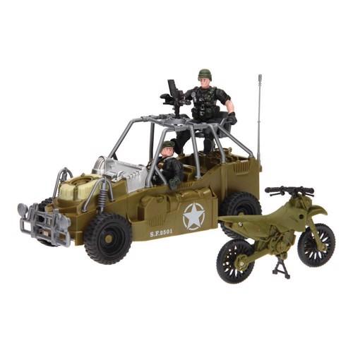 Image of Army Forces, millitærlegetøj, motorcykel med bil eller hellikopter (8711866260195)