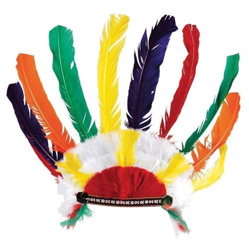 Image of   Indianersæt, med fjer, økse og pibe