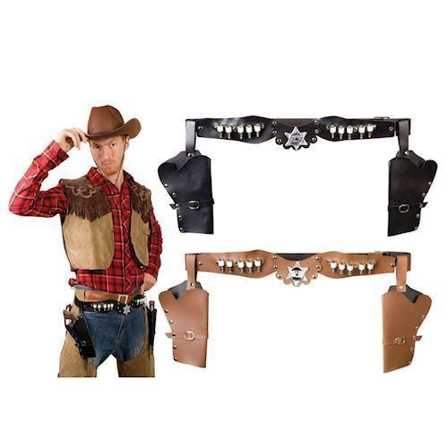 Image of Udklædning, Cowboy Bælte med dobbelt revolver hylster (8712026005830)