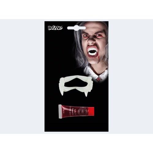 Image of   Halloween Vampyr tænder med teaterblod 11ml