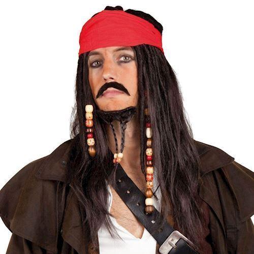 Image of Udklædning, Voksen, Pirat, paryk og skæg, Captain Sparrow (8712026863430)