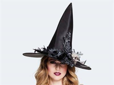 Halloween Hexenhut mit Skulla