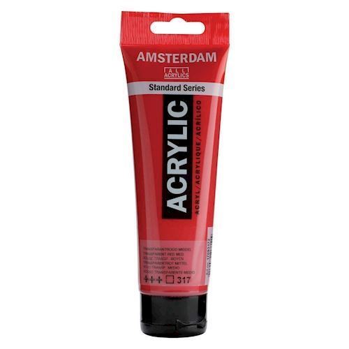 Image of   Amsterdam Akryl maling, Transparent rød, 120ml