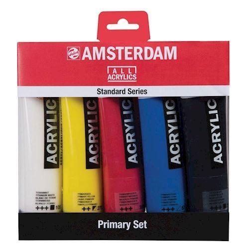 Image of   Amsterdam akrylmaling, basis farver, 5 stk