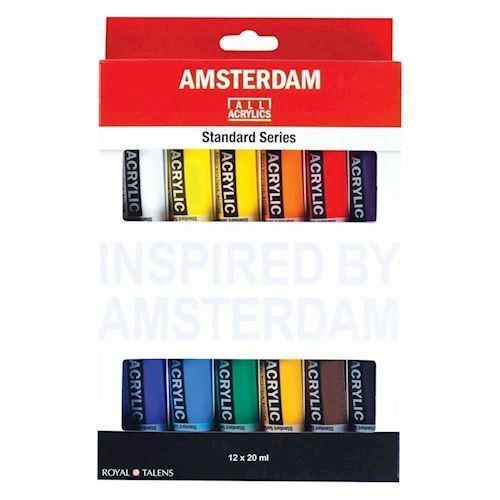 Image of   Amsterdam Akryl maling, Standard Sæt, 12 dele