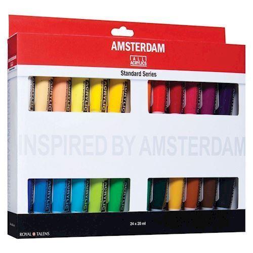 Image of   Amsterdam Akryl maling, Standard Sæt, 24 dele