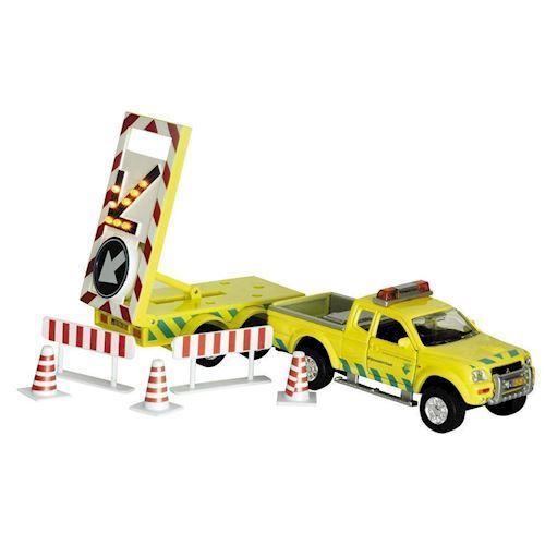 Image of   Legetøjsbil, Arbejdsvogn, Vej, Bil med trailer og skilte