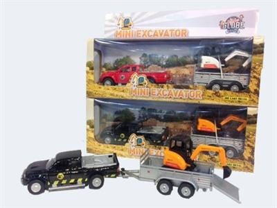 Image of   Firhjulstrækker med trailer og gravemaskine 13cm