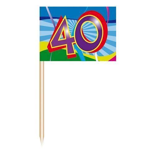 Image of Cocktail Pinde/flag-40 år, 50 stk.
