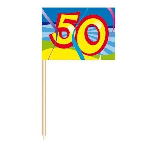 Image of Cocktail Pinde/flag-50 år, 50 stk.