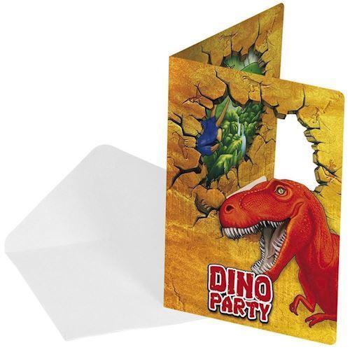 Image of   Dinosaur invitationer, 6 stk