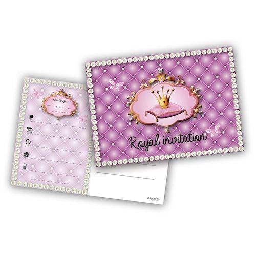 Image of   Prinsesse invitationer, 6 stk