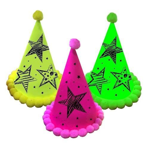 Image of   Neon Party Party Hatte, 3stk.
