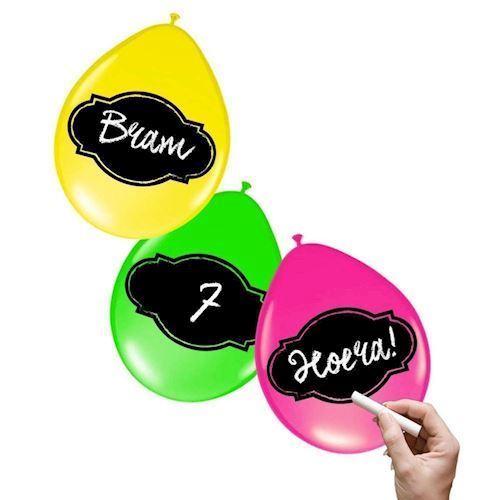 Skrivbare Balloner Neon, 6stk.