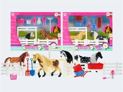 Image of   Legesæt med heste og tilbehør