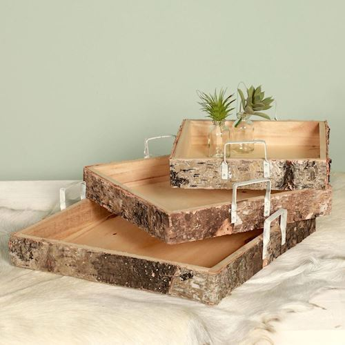 Dijk Natural Collections Wooden tray sets, 3dlg.