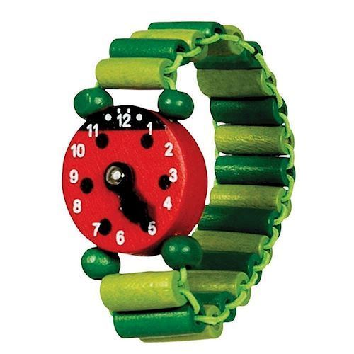 Image of   Legetøj, armbåndsur i træ, mariehøne