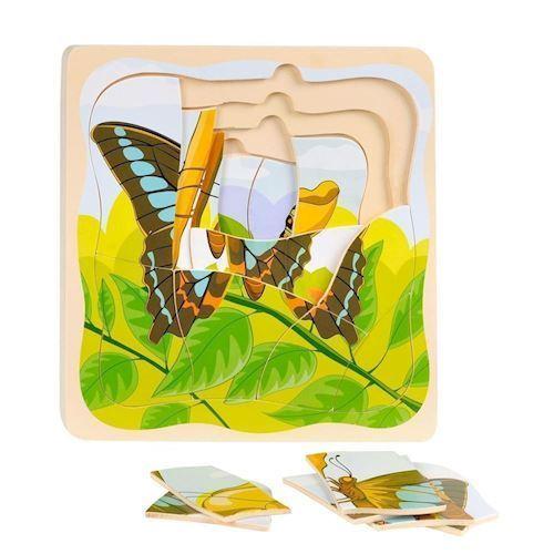 Image of   Niveau Puslespil, sommerfugl