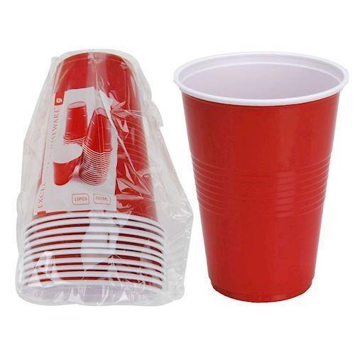 Image of   Røde Plastik kopper/krus