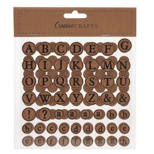 Små kork klistermærker, bogstaver