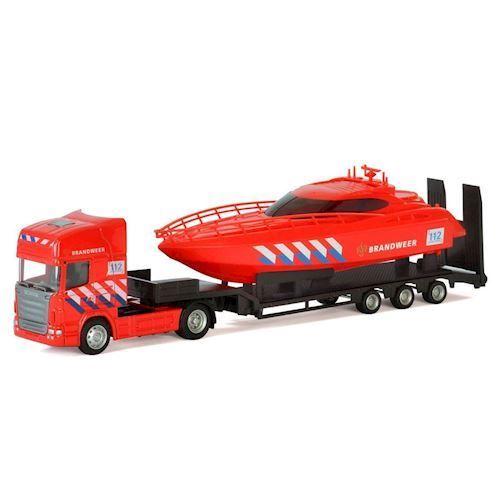 Image of   Polesie,Lastbil med båd, brandvæsen