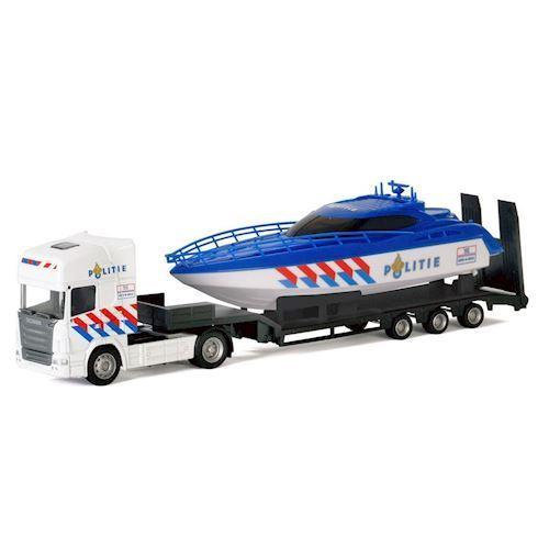 Image of   Polesie,Lastbil med båd, politi