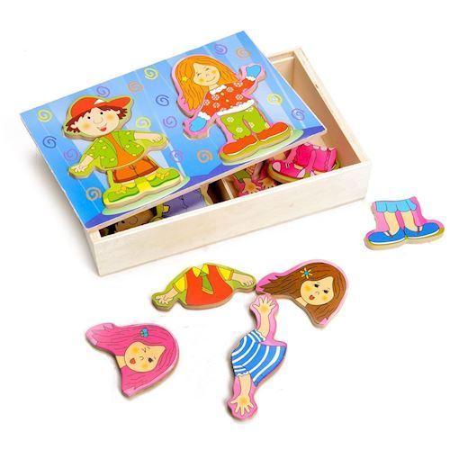 Image of   Påklædnings puslespil, dren og pige