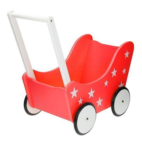 Dukkevogn, rød med stjerner