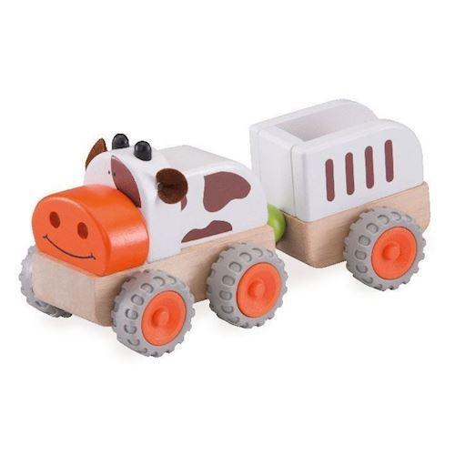 Image of Traktor med trailer i træ, Wonderworld (8851285140767)