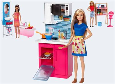 Image of   Barbie DVX51 Deluxe møbler med dukke