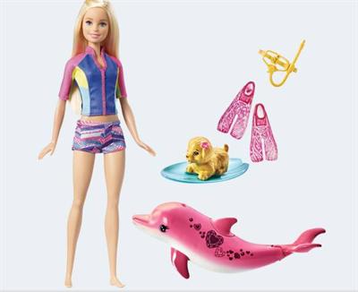 Image of   Barbie dukke, FBD64 Delfinernes magi, Barbie & Venner