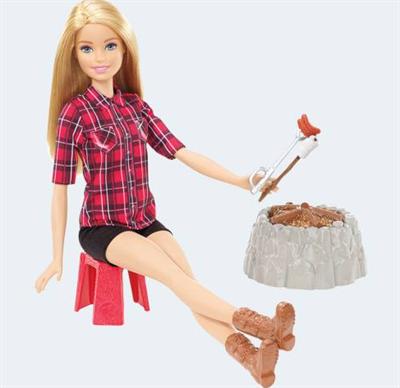 Image of   Barbie dukke, FDB43 lejrbål sæt. Ass. modeller