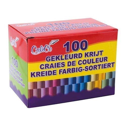 Image of   Farvede tavle kridt 100 stk