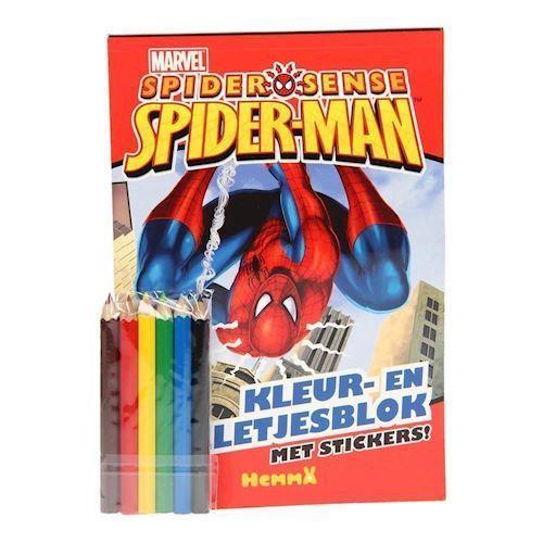 Image of Spiderman male og opgave bog med klistermærker (9789041234858)
