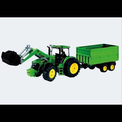 Image of Bruder Traktor John Deere 7930 Mit Frontlæsser Og Anhænger