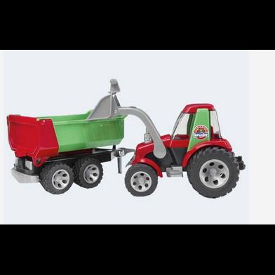Image of Bruder Roadmax Traktor med læsser og tippeladanhænger 67cm