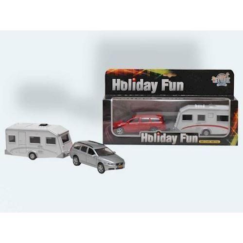 Image of Bil med campingvogn 20cm Metal med pullback