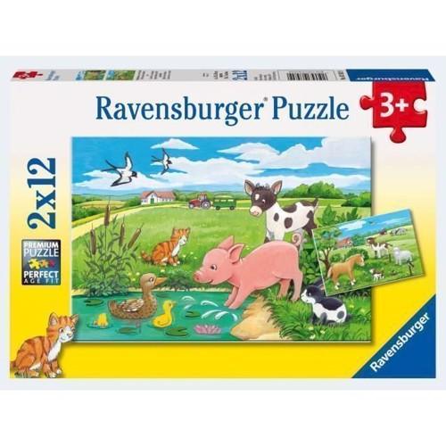 Image of Ravensburger Puslespil 2x12 brikker dyrebørn