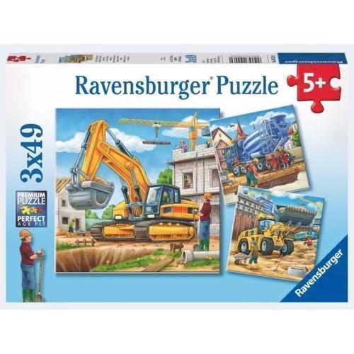 Image of Ravensburger Puslespil 3x49 brikker maskiner på byggepladsen